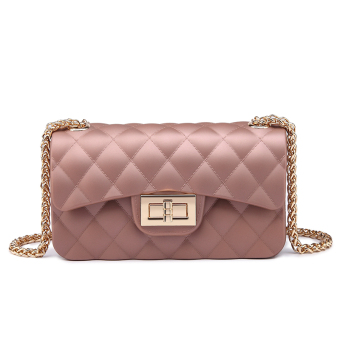Graceful Korean-style Lingge chain bag shoulder cross-body small bag New style women's bag (Rose Gold large)