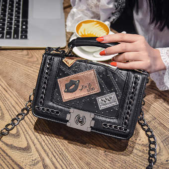 Graceful Korean-style New style badge chain small bag shoulder diagonal package (Black)