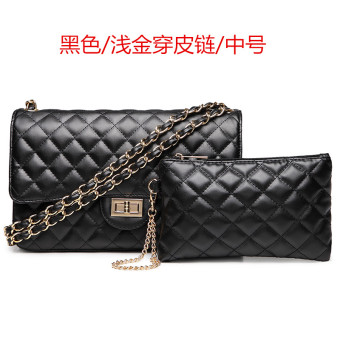 Graceful simple leather women's small bag quilted chain bag (Medium light gold wear leather chain black)