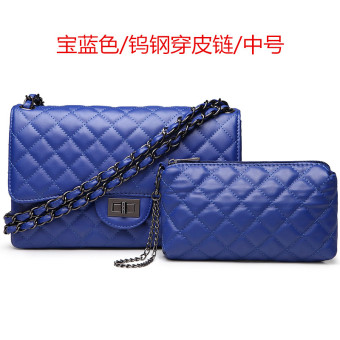 Graceful simple leather women's small bag quilted chain bag (Medium tungsten steel wear leather chain blue)