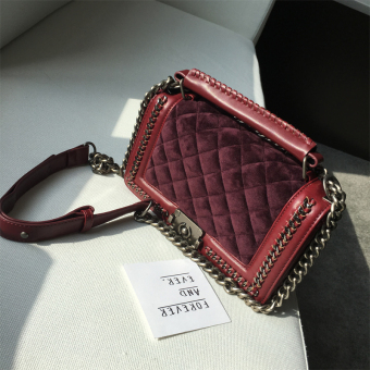Graceful swan velvet bag New style messenger bag (Wine red color)
