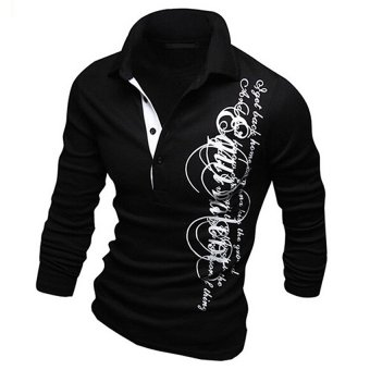 Gracefulvara Cool Fashion Men Stylish Slim Fit Casual Fashion Letter Printing T-shirts Polo Shirt Long Sleeve Tops (Black)