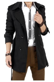 Gracefulvara Men's Slim Double Breasted Trench Coat Long Jacket Overcoat (Black)