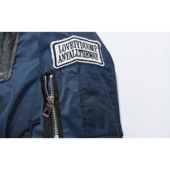 Grandwish Kids Patches Design Jackets Bomber coat Slim 6T-16T (Darkblue) - intl - 5