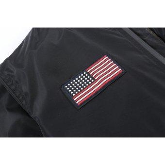 Grandwish Men American flag Patches Jackets Bomber Jackets Casual Coat M-4XL (Light grey) - intl - 3