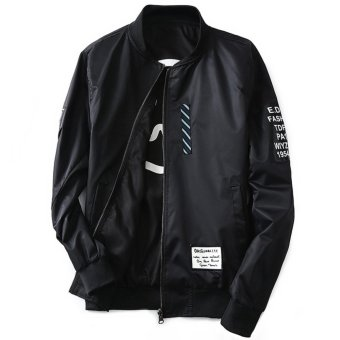Grandwish Men Double-sided wear Jacket Bomber Jackets Letter printCoat M-4XL (Black) - intl