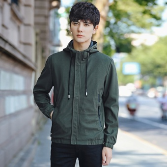 Grandwish Men Fashion Coat Baseball collar Bomber Jacket solid CoatHoodies M-3XL (Army green