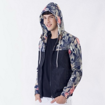 Grandwish Men Floral Bomber Jacket Hip Hop Slim Fit Pilot Bomber Coat Hooded M-5XL (Black) - intl