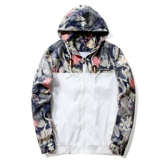 Grandwish Men Floral Printing Jackets Hoodies Slim Bomber Jackets M-4XL (White) - intl