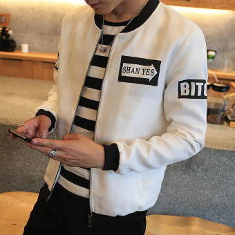 Grandwish Men Korean design Letter Printing Jackets Bomber Jackets Thin Coat Slim M-4XL (White) - intl
