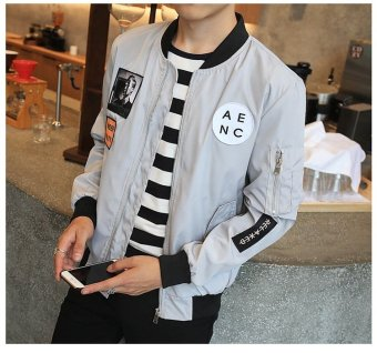 Grandwish Men Letter Printing Jackets Graphic Printing Slim Bomber Jackets M-4XL (Light grey) - intl - 4