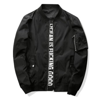 Grandwish Men Letter Printing Jackets With Pocket Slim BomberJackets M-4XL (Black) - intl
