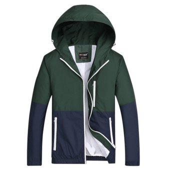 Grandwish Men Lightweight Jackets Hoodies Couple Coat Patchworkdesign XS-3XL (Army Green) -