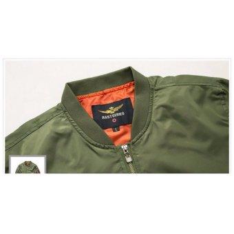 Grandwish Men Pilot Bomber Jacket Pure Color Coat Plus size S-6XL (Dark blue) - intl - 3