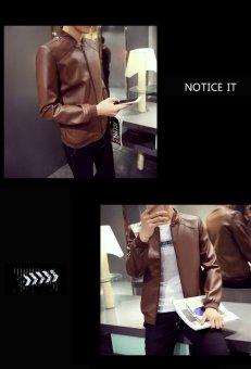Grandwish Men PU Leather Jacket Pure Color Coat Plus size M-4XL (Brown) - intl - 3