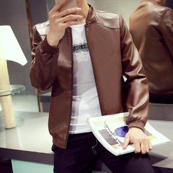 Grandwish Men PU Leather Jacket Pure Color Coat Plus size M-4XL (Brown) - intl - 4