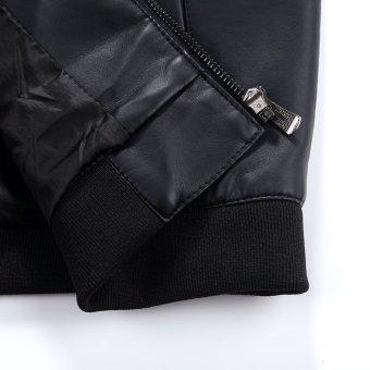 Grandwish Men PU Leather Jacket Pure Color Coat Plus size M-4XL (Brown) - intl - 5