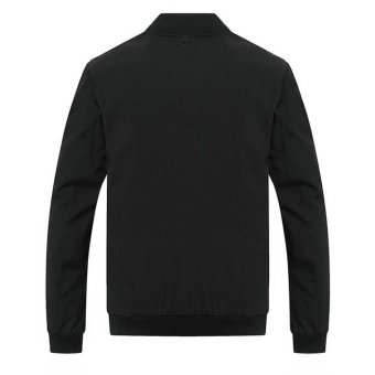 Grandwish Men Solid Bomber Jackets Striped lined Casual Coat Slim M-4XL (Black) - intl - 4