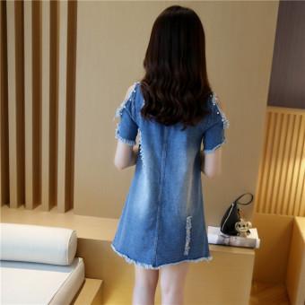Grandwish Women Denim Ripped Holes Dress With Pearl Design Off shoulder Dress Slim S-XL (Blue) - Intl - 3