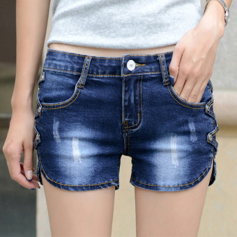 Grandwish Women Falbala Leather Pans Denim Shorts Slim 26-31 (Blue)- Intl
