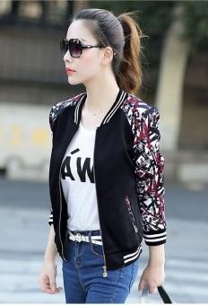 Grandwish Women Floral Print Jackets Baseball uniform Coat Plus Size S-3XL (Black) - Intl - 4
