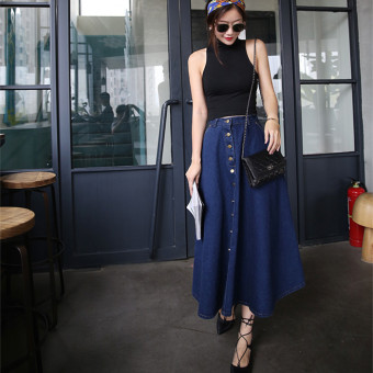 Grandwish Women High Waist Denim Long Skirts Single-breasted Skirts S-XL (Dark Blue) - Intl