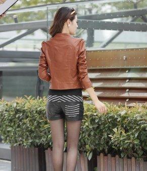 Grandwish Women PU Leather Coat Motor Jacket Stand collar Slim M-2XL (Brown) - intl - 5
