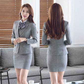 Grey Long Sleeve Spring Autumn Formal Blazer Coat For BusinessWomen Ladies Office Work Wear Formal Blazers Jackets Outwear FemaleTops Clothes - intl - 2