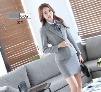 Grey Long Sleeve Spring Autumn Formal Blazer Coat For BusinessWomen Ladies Office Work Wear Formal Blazers Jackets Outwear FemaleTops Clothes - intl - 4