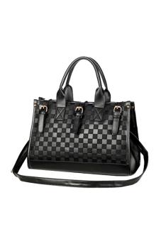 Grid Synthetic Leather Shoulder Bag (Black)
