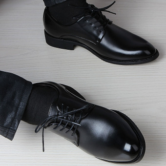 Groom Korean-style men pointed elevator wedding shoes black leather shoes (Collection baby to send boutique socks a double!)