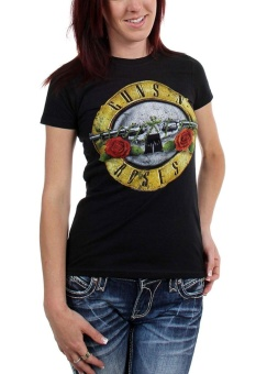 Guns n Roses - Womens Distressed Bullet T-Shirt - intl Price Philippines