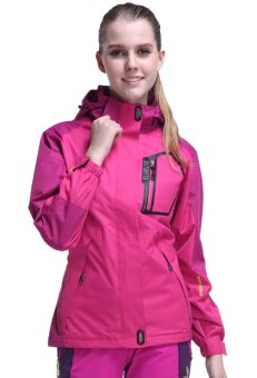 GUYUE Women's Waterproof Mountain Jacket Hooded Outdoor Rain CoatHot Pink Price Philippines