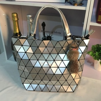 GX 2017 New Bag Messenger Bag Tote Bag Geometric Bao Lei Shot Foldingbag Quilted Shoulder Bag Hand Bag Female Bag (Silver) - intl