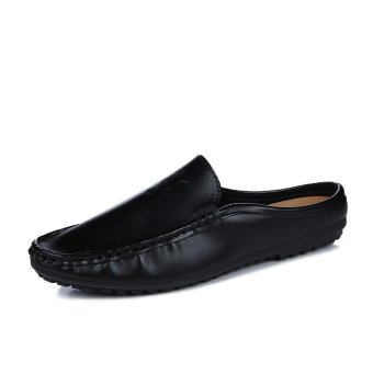 Half Dragged Shoes Men Beach Shoes Loafers Slip-on Summer Sandals(Black) - intl
