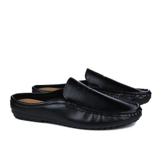 Half Dragged Shoes Men Beach Shoes Loafers Slip-on Summer Sandals(Black) - intl - 3
