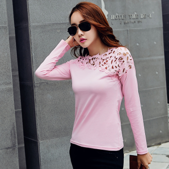 Han Banchun cotton lace T-shirt shirt solid color Top (Pink long-sleeved) (Pink long-sleeved)