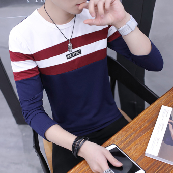 Han Banchun cotton long-sleeved round neck bottoming shirt T-shirt (Dark blue color)