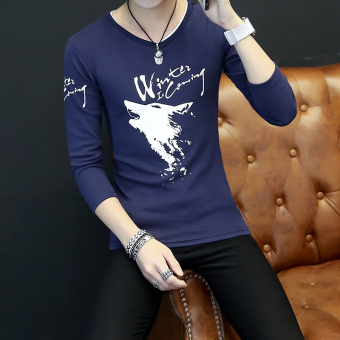 Han Banchun cotton long-sleeved v-neck base shirt T-shirt (Small wolf dark blue color)