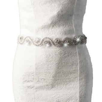 Handmade Bridal Belt (White)