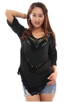 Hang-Qiao Boho Lace Cardigan (Black)
