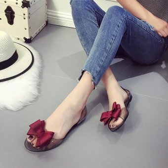 Hang-Qiao Crystal Jelly Shoes Sweet Bowknot Open Toe Flat HeelCasual Beach Sandals (Red) - intl