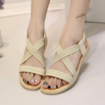 Hang-Qiao Elastic Bands Flat Sandals Women Comfortable Toe Sandals(Beige) - intl