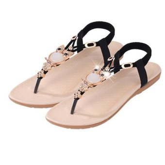 Hang-Qiao Fashion New Flat Shoes Plus Size Sandals Women ShoesComfort Rhinestone Flip-flops Black