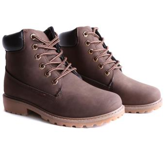 Hang-Qiao Fashion Women Ankle Martin Boots Military Combat Shoes Brown - 3