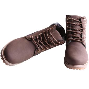 Hang-Qiao Fashion Women Ankle Martin Boots Military Combat Shoes Brown - 5