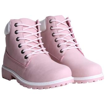 Hang-Qiao Fashion Women Ankle Martin Boots Military Combat Shoes Pink - 2