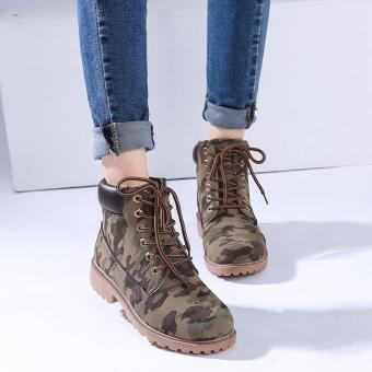 Hang-Qiao Fashion Women Ankle Martin Boots Military Combat ShoesCamouflage