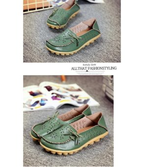 Hang-Qiao Flats Shoes Women Loafers Ladies Slip on Shoes (Green) -intl