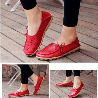 Hang-Qiao Flats Shoes Women Loafers Ladies Slip on Shoes (Red) - intl